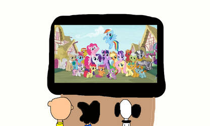 C.B, Lucy and Snoopy Watching My Little Pony