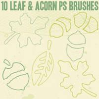 Leaf and Acorn Outline Brushes