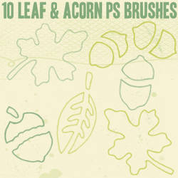 Leaf and Acorn Outline Brushes