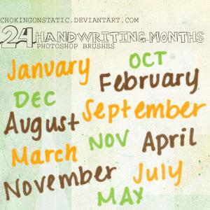 handwriting-months brushes by chokingonstatic