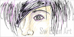 Eyes with Purple Line