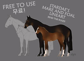     FREE TO USE  mare and foal lineart  