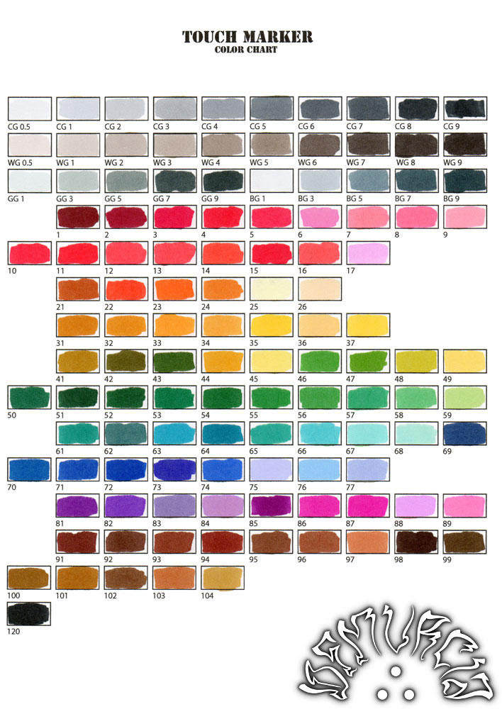 Touch Marker color chart by dfmurcia