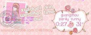 owl pink wheter clock, skin Xwidget by may0487
