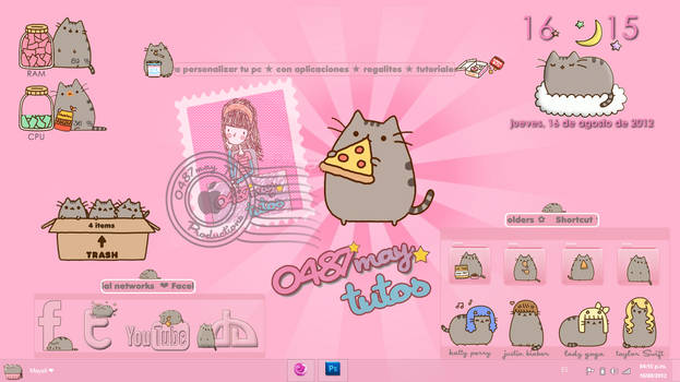 Pusheen cat, theme for Xwidget