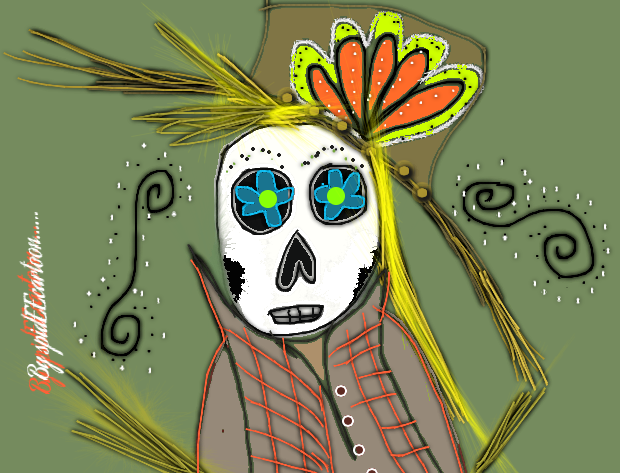 Skull Mandy scarecrow by Spideecartoon