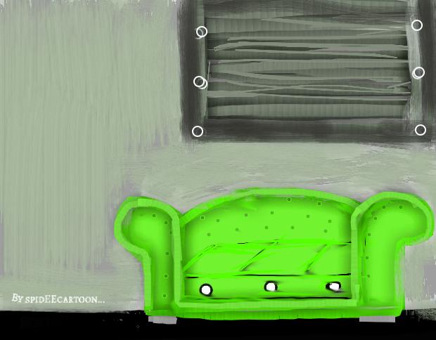 Lime sofa by Spideecartoon