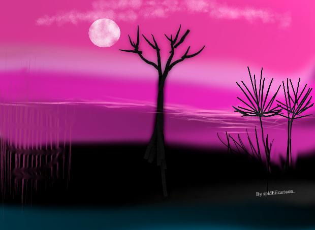 Landscape at night by Spideecartoon