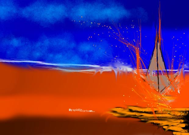 Dwindling camp fire by Spideecartoon