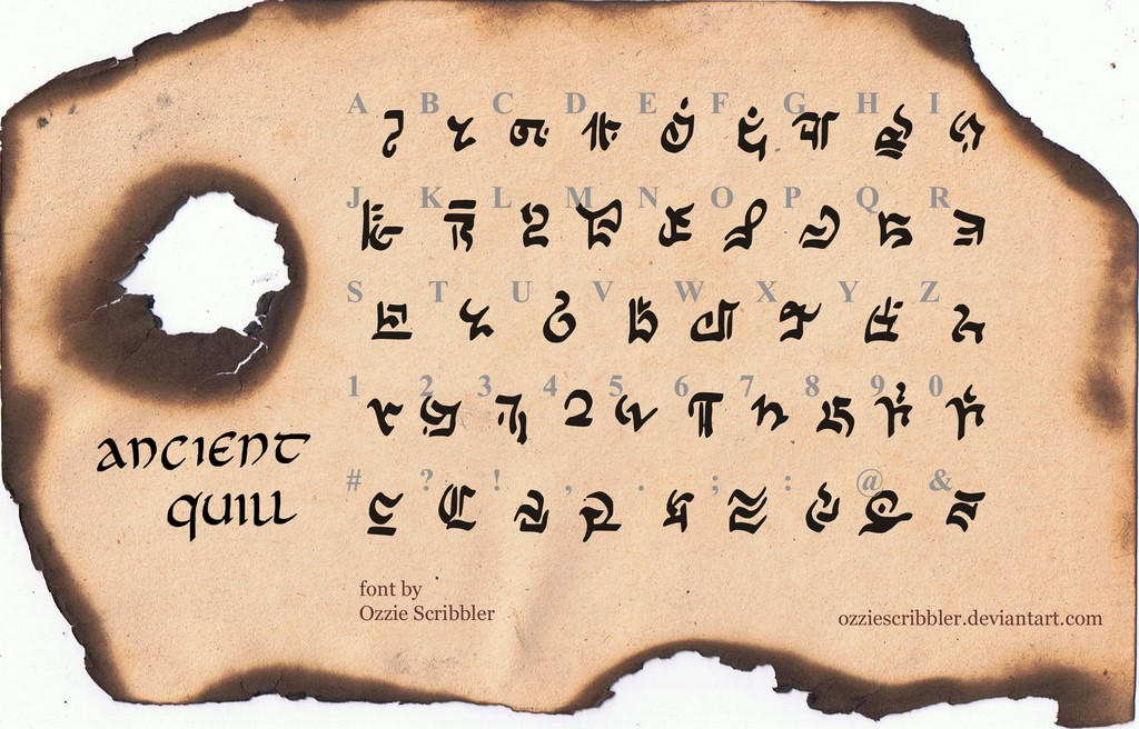 Ancient Quill FREE FANTASY SCI FI FONT By OzzieScribbler