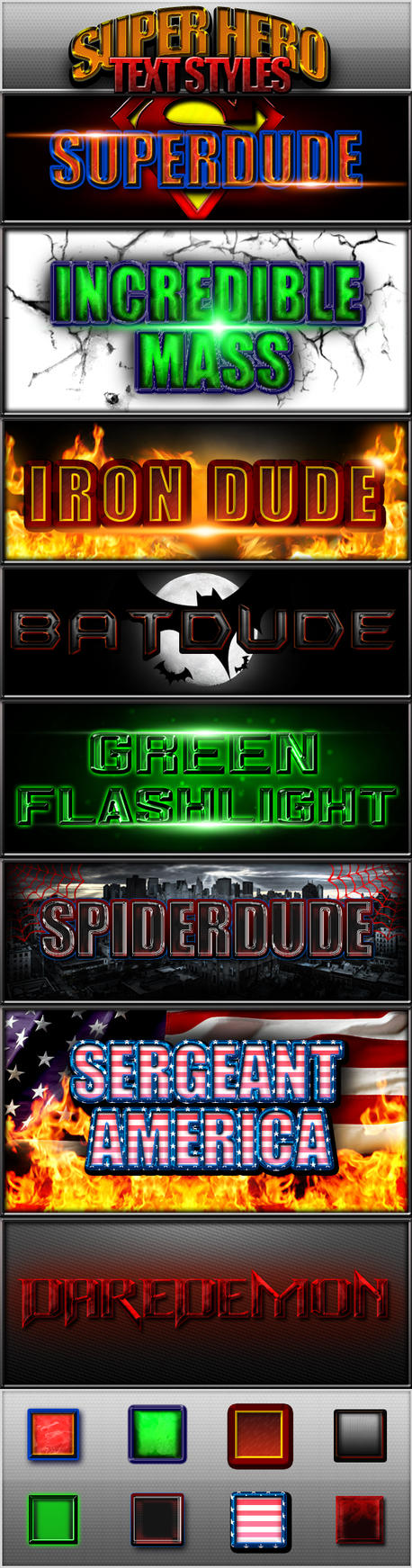 Super Hero Text Styles -FREE- by Xiox231
