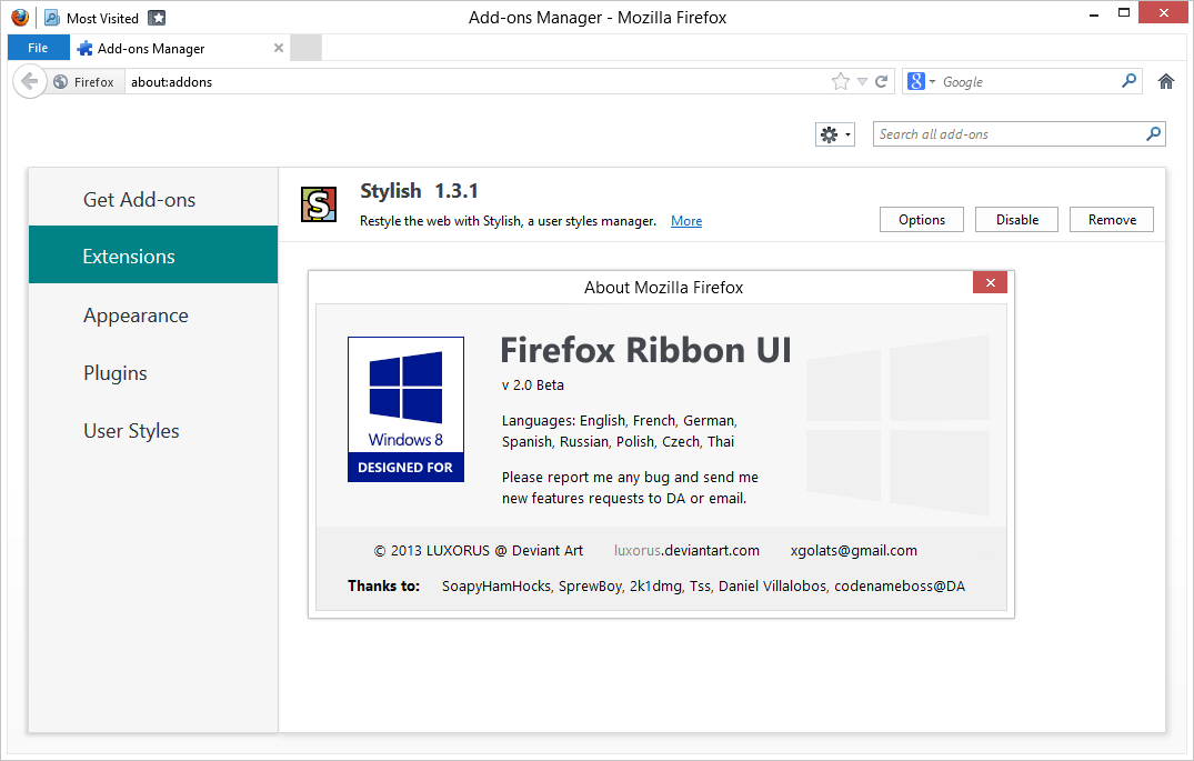 Firefox Ribbon UI version 2.05 by luxorus