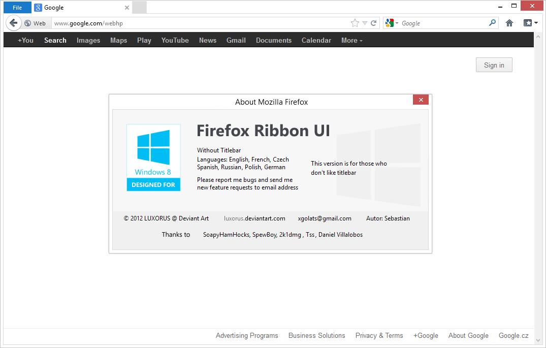 Firefox Ribbon UI version Without Titlebar v 1.2.1 by luxorus