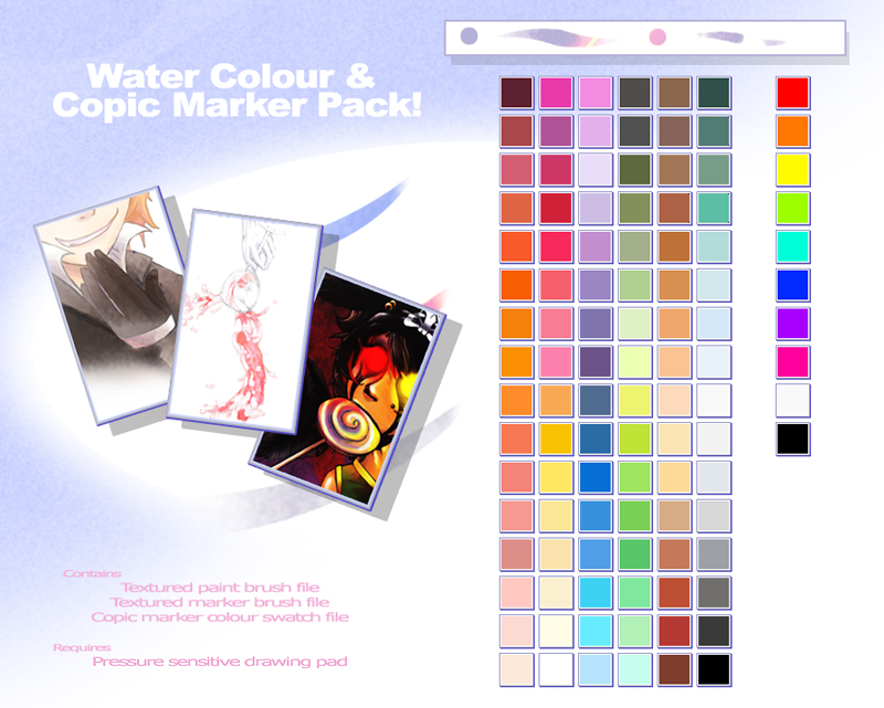 Water Colour Copic Brushes by ZachsAnomaIy