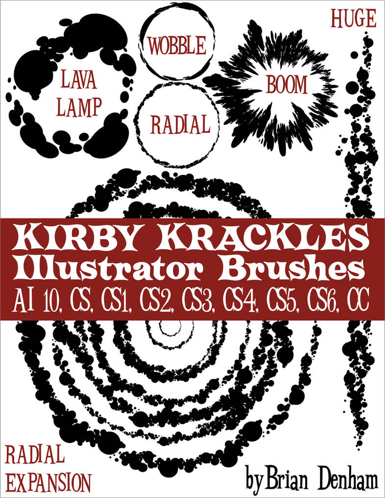 Kirby Krackles brush set -UPDATED from AI10 to CS6 by DaneRot