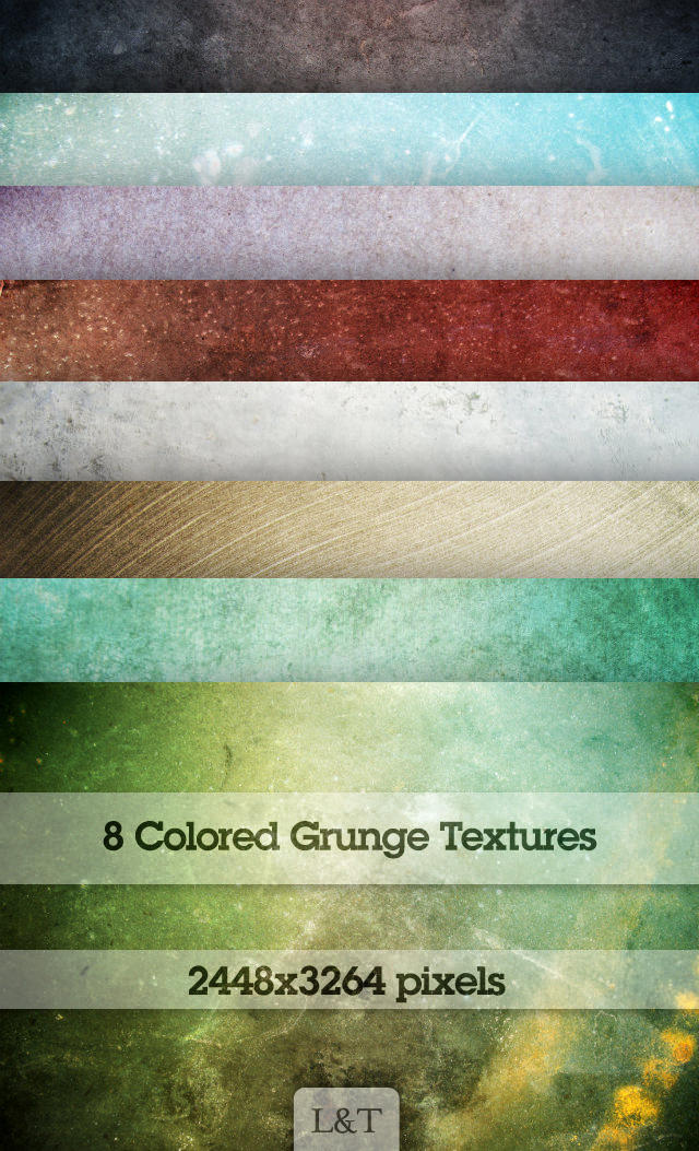 Eight Colored Grunge Textures by lostandtaken