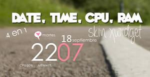 Skin Xwidget Clock 4en1