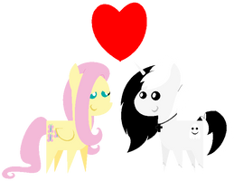:Gift: Bouncy Fluttershy and Ghostdude Chibis