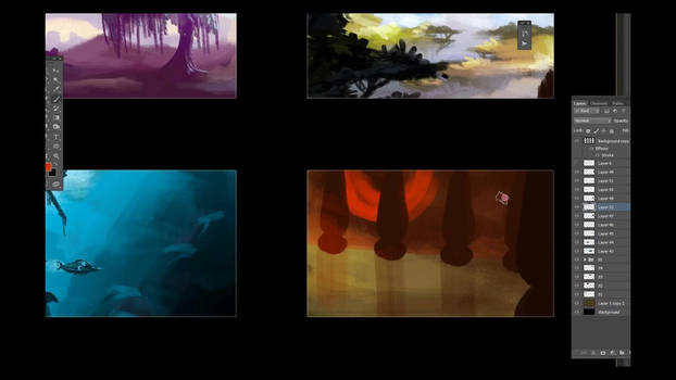 12 Quick sketches / Color Keys in Photoshop