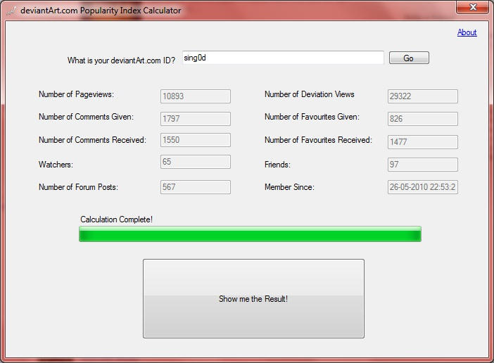 dA Popularity Index Calculator by SiNg0d