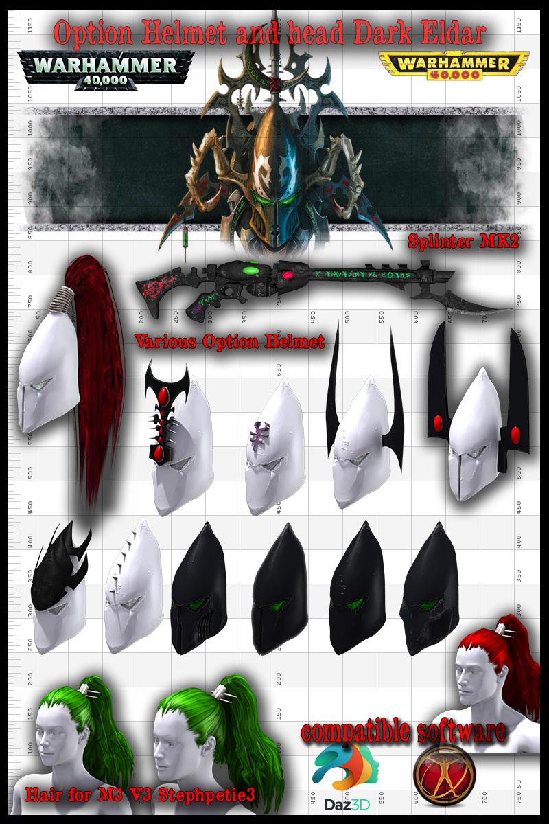 Option warrior Dark eldar Head by jibicoco