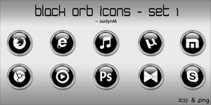 Black Orb Icons - 10 .ICO + .PNG (Set 1) by JaidynM