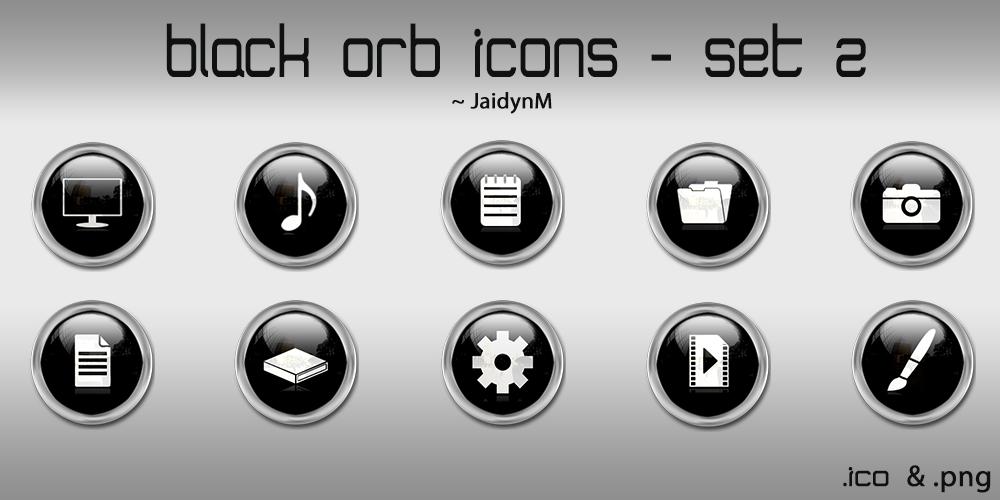 Black Orb Icons - 10 .ICO + .PNG (Set 2) by JaidynM