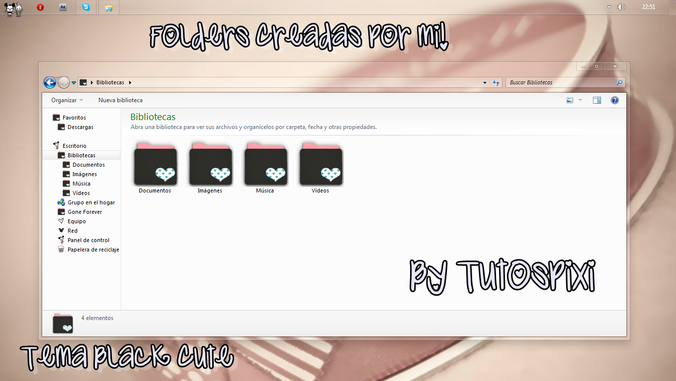 Tema Iconpackager Black Cute by TutosPixi