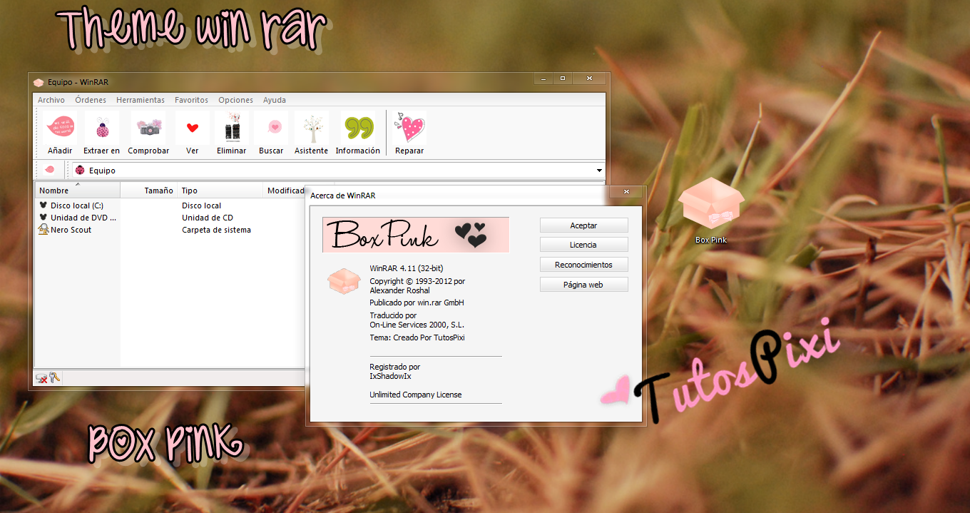 tema win rar Box Pink by TutosPixi