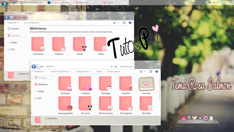 Tema Iconpackager rosa salmon by TutosPixi