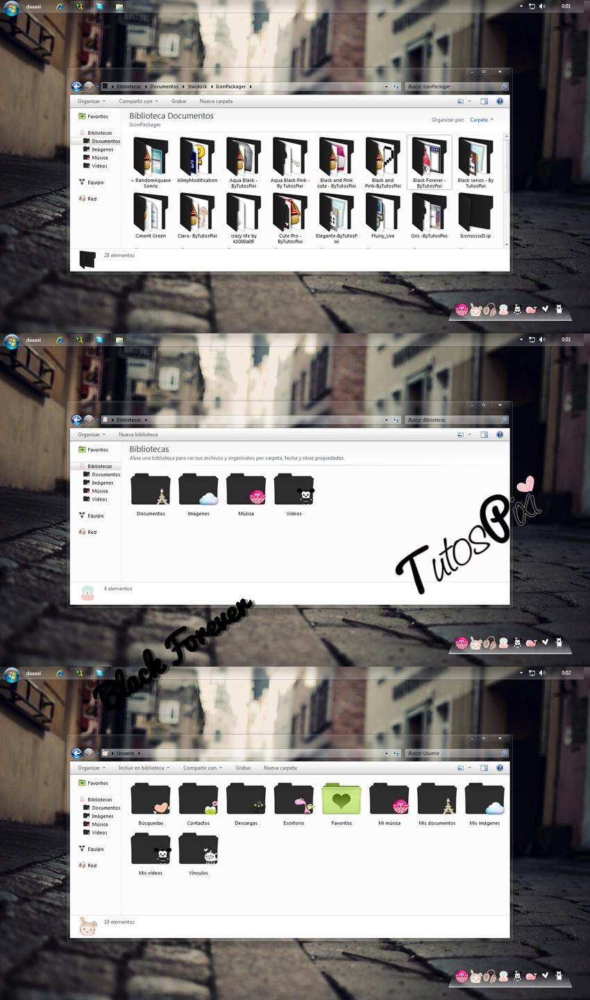 Tema Iconpackager Black Forever by TutosPixi