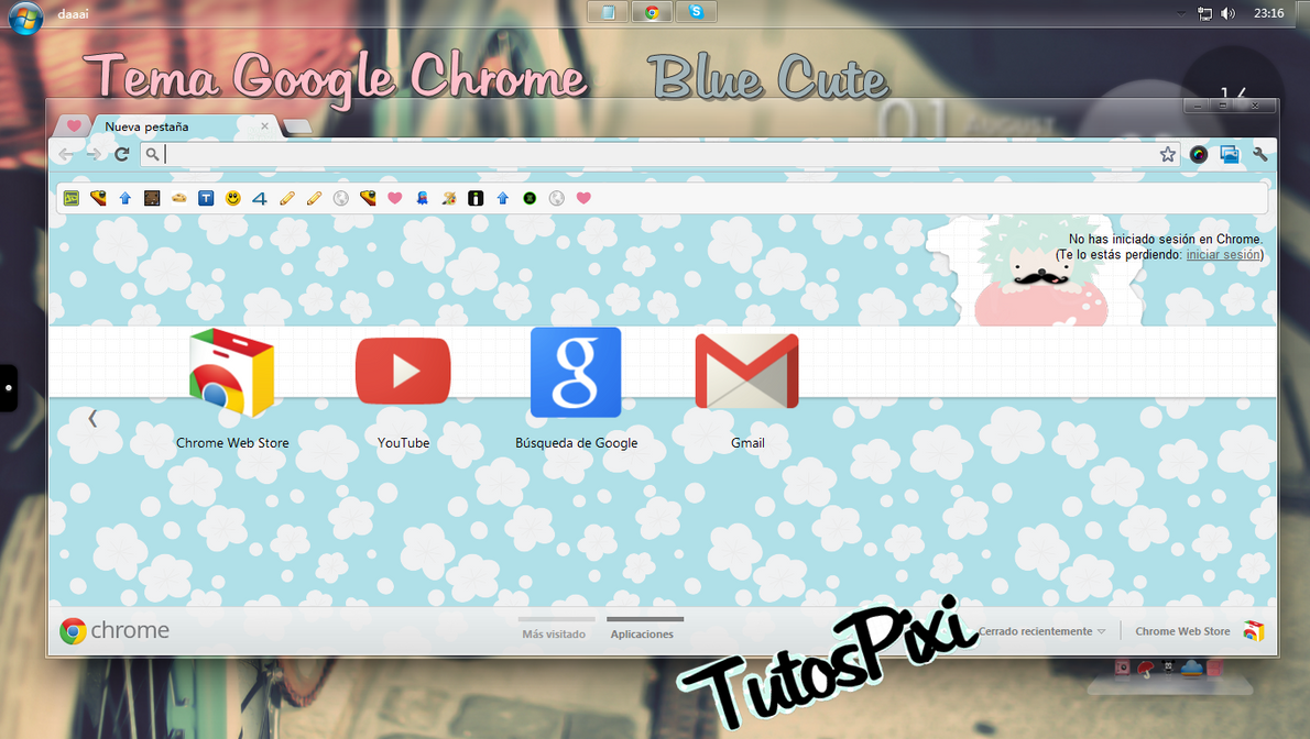 Tema Google Chrome Blue Cute by TutosPixi