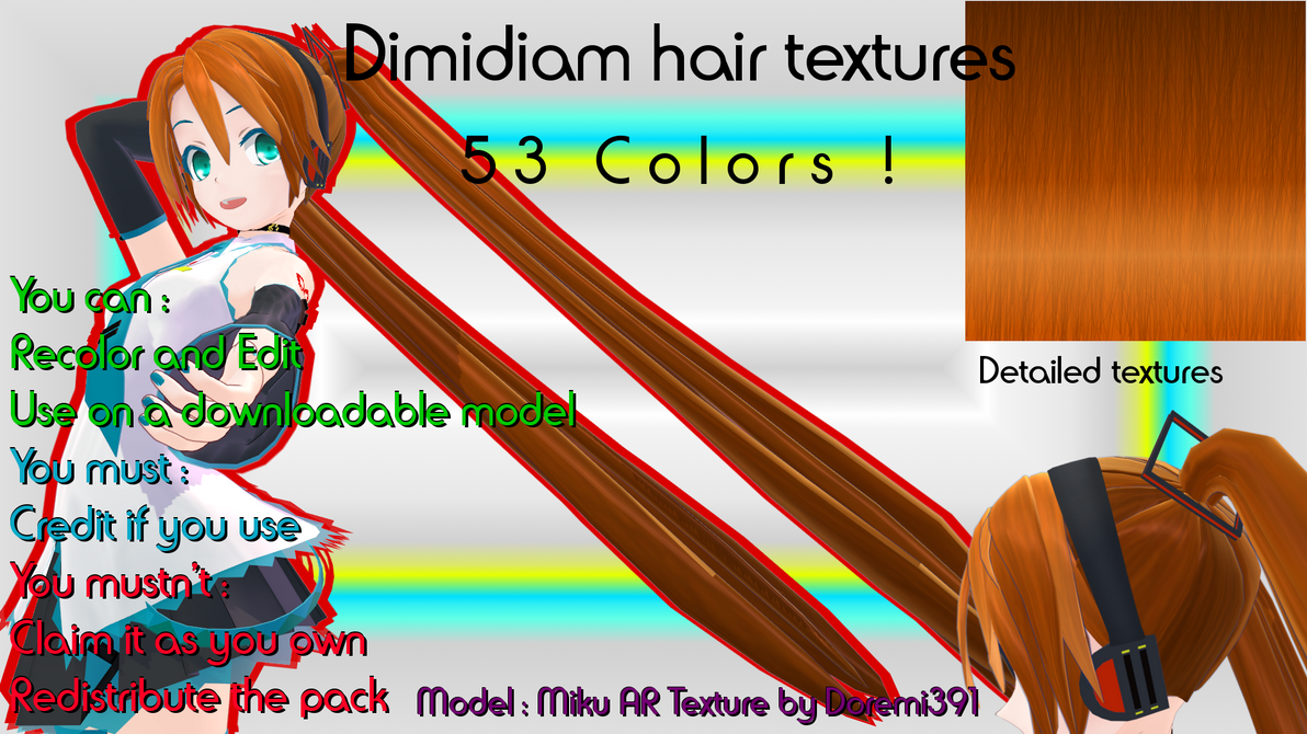 [MMD] Dimidiam hair textures DL by Doremi391