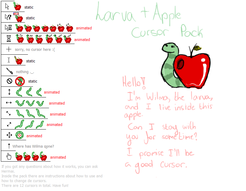 Larva and Apple Cursor Pack by Hermai