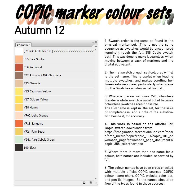 Copic Marker Colour Set Autumn 12 By D Signer On Deviantart