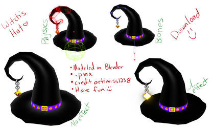 MMD DL Witch's Hat by artimiss1238