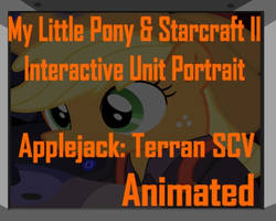 Applejack and Starcraft SCV Unit Portrait by Yudhaikeledai