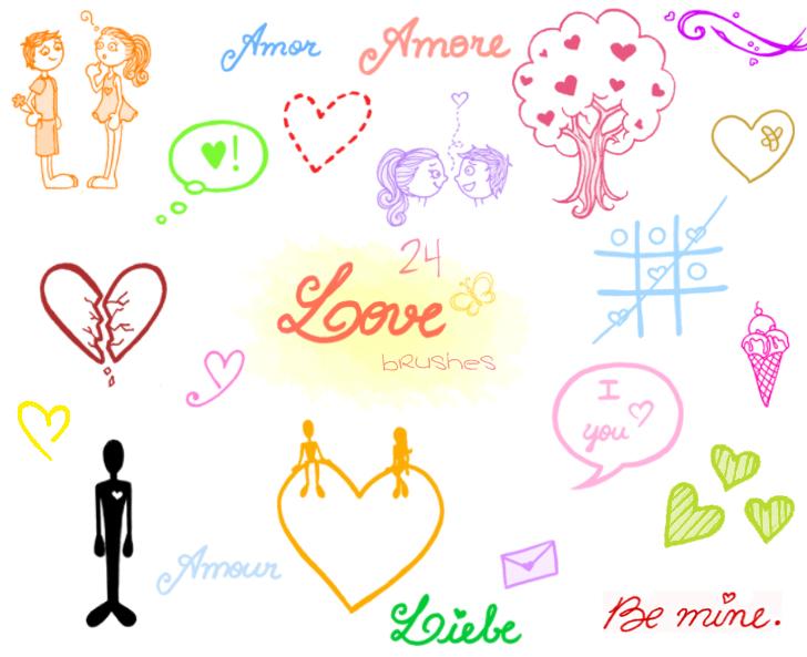 .Love Doodles. Brush Set