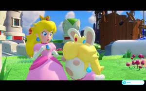 Princess Peach and Rabbid Peach by Supremechaos918