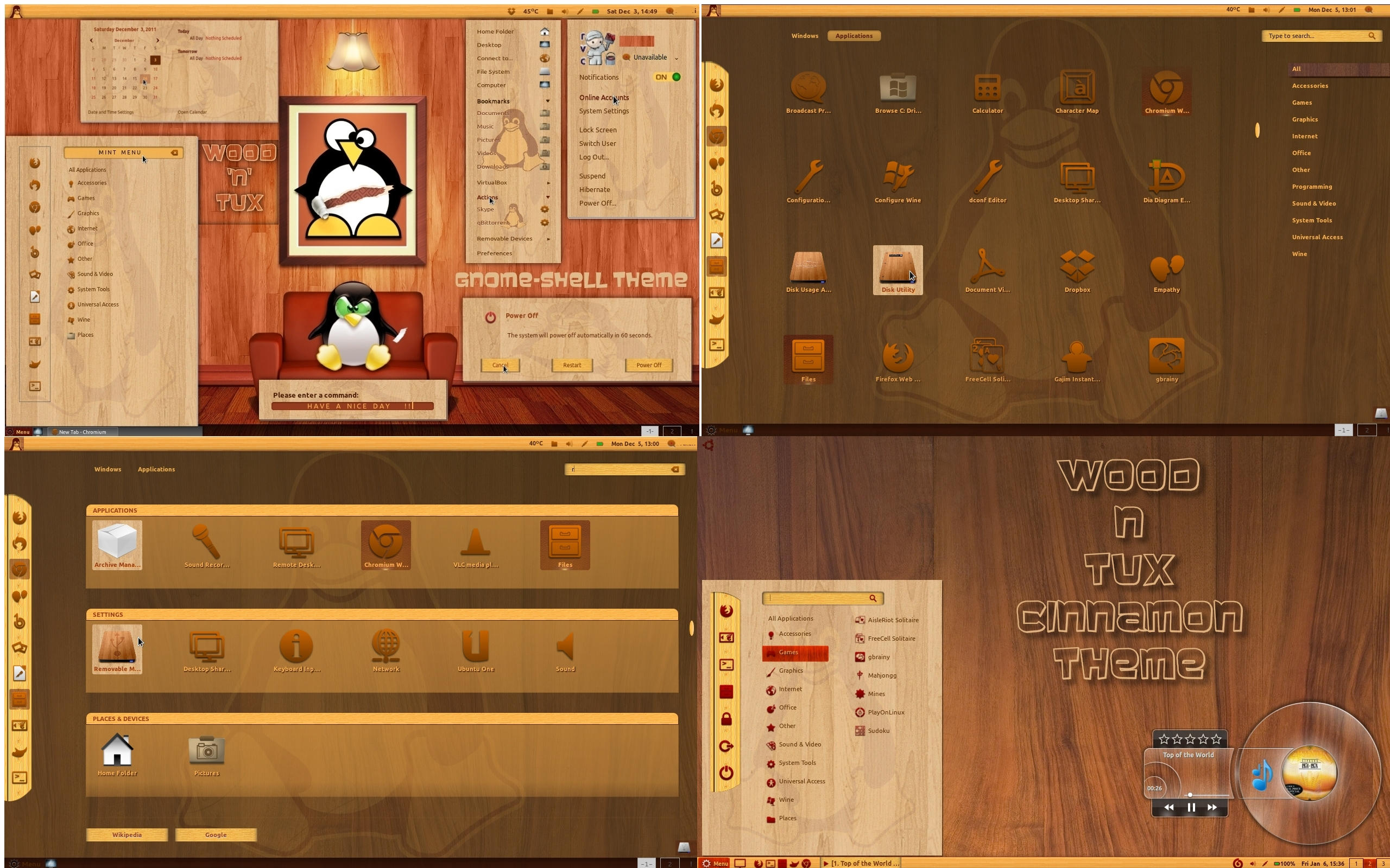 Wood 'n' Tux - Gnome Shell and Cinnamon Theme by rvc-2011