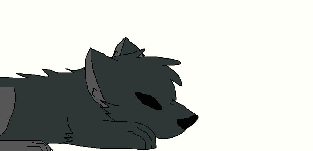 sleeping wolf by FlameBerryTheWolf