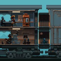 Train of the Robots - Pixel-art + Animation