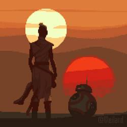 Rey, Star Wars - 4x - pixel-art and animation