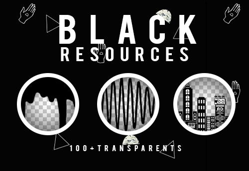 BLACK TUMBLR RESOURCES PNG by SabDesings