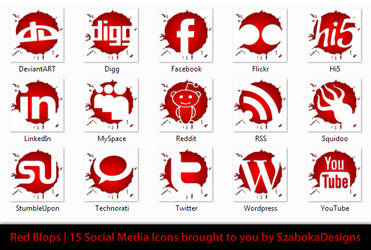 Red Blops Social Media Icons by SzabokaDesigns
