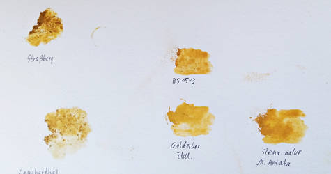 Yellow And Brown Ochres samples for Artrage