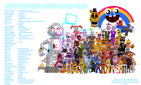 MMD- FNaF World Pack (FULL PARTY UPDATE) (DL)