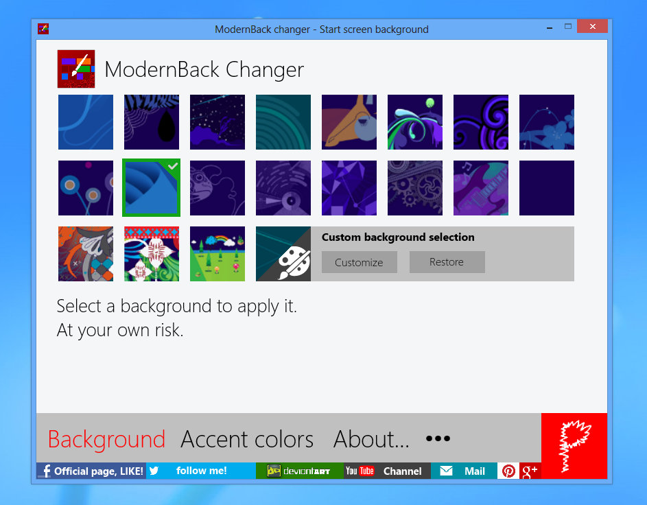 ModernBack changer 2.8 (31/10/2012) by Pasquiindustry
