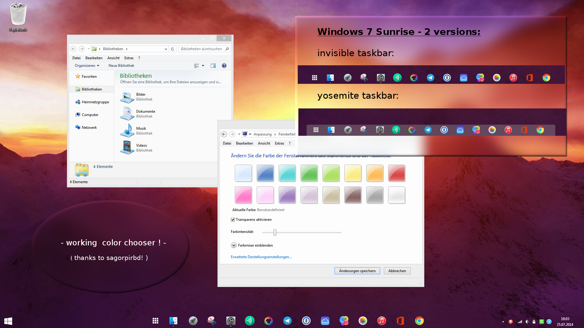 Windows 7- invisible / transparent taskbar theme by Dave2399 on
