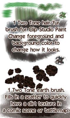 2 Tone CSP Brushes: 1 fur/hair, 1 earth/dirt brush
